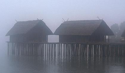 Der Bodensee im Winter (Pfahlbauten)